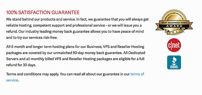 Garantia de 90 dias inmotion hosting